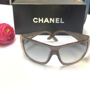 AUTHENTIC CHANEL Brown Wrap Sunglasses